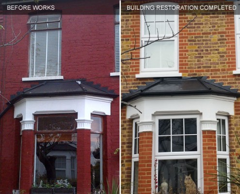 Building restoration before and after