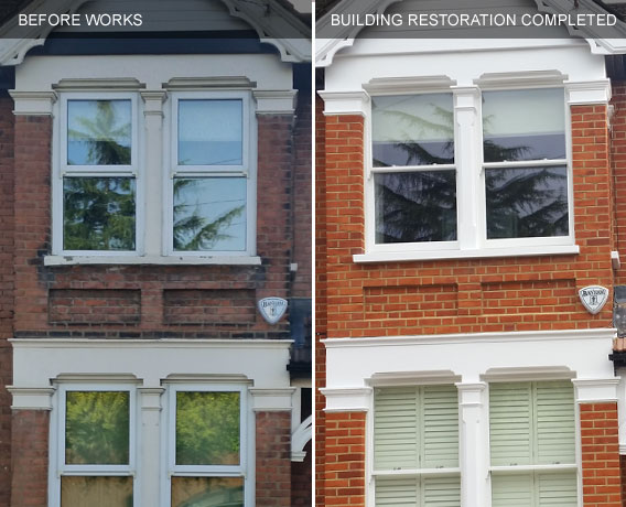 Brick restoration before and after