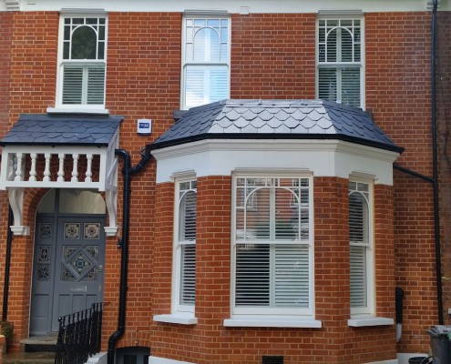 Refaced, repointed brickwork